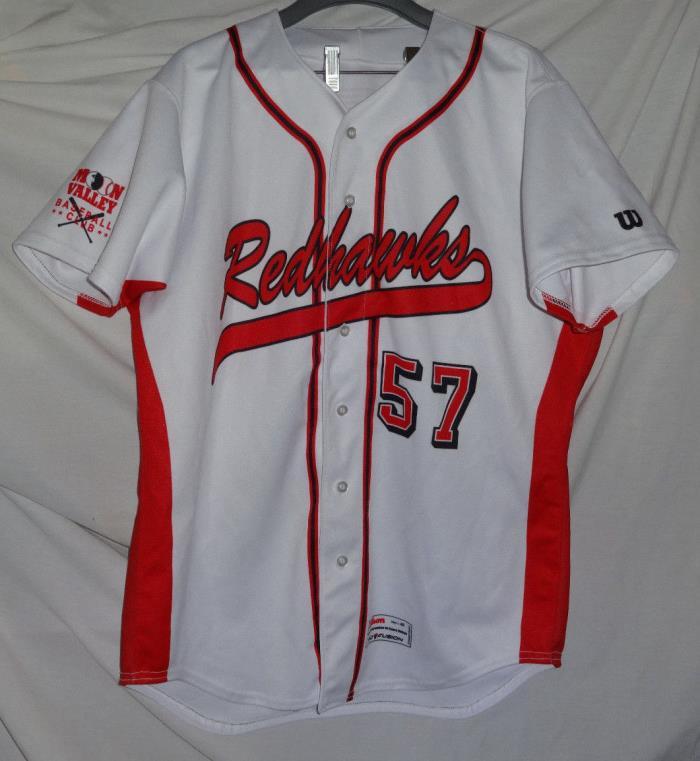 REDHAWKS Heavy Knit Wilson Game Used Worn Baseball Jersey Sz 48