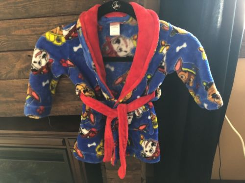 Nickolodeon Paw Patrol Toddler Robe size 2T blue & red pajamas warm