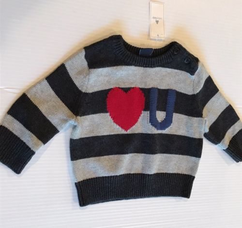 BABYGAP / GAP NWT INFANT BOYS SIZE 3-6 MONTHS COTTON STRIPED CREWNECK SWEATER @