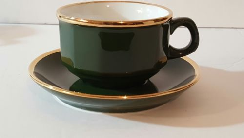 Walkur w. Germany porcelain cup and saucer gold tone green tea coffee cup