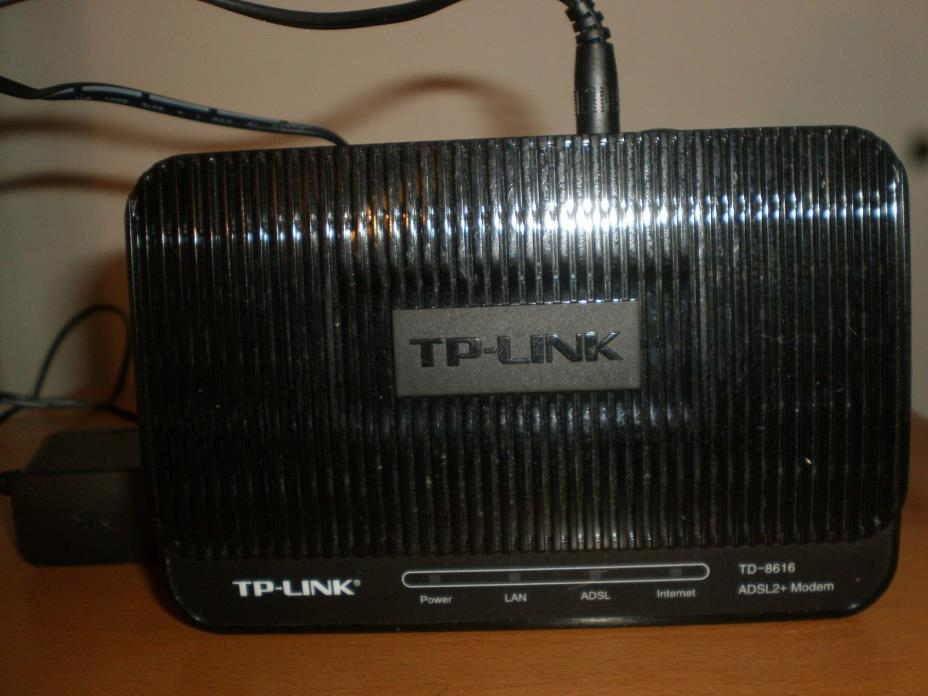 TP Link  ADSL2 Plus Modem, Model TD-8616 Color, Black, Tested, Working