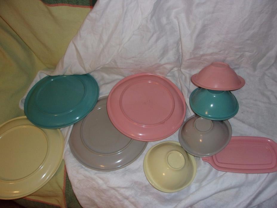 vintage Boontonware mid century melmac kitsch pink plastic dish bowl set lot old