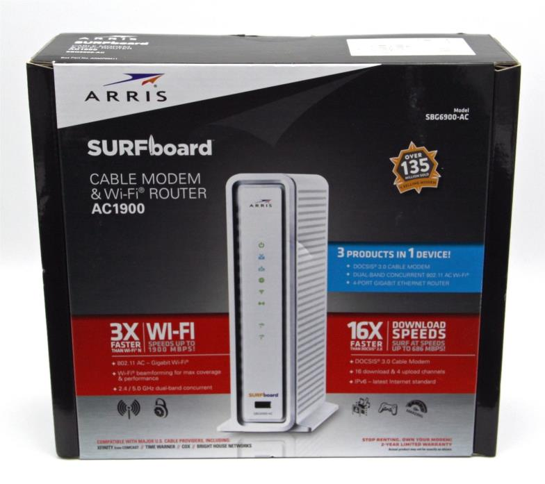Arris Surfboard Cable Modem & Wi-Fi Router AC1900 Model SBG6900-AC