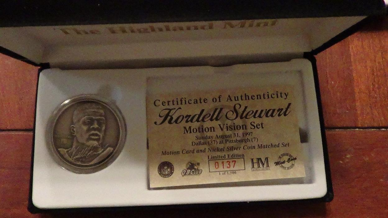 KORDELL STEWART HIGHLAND MINT MOTION VISION SET NICKEL SILVER LIMITED EDITION