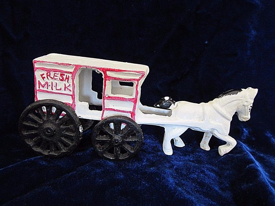 Vintage Cast Iron Toy Horse Drawn White Milk Wagon 7.5