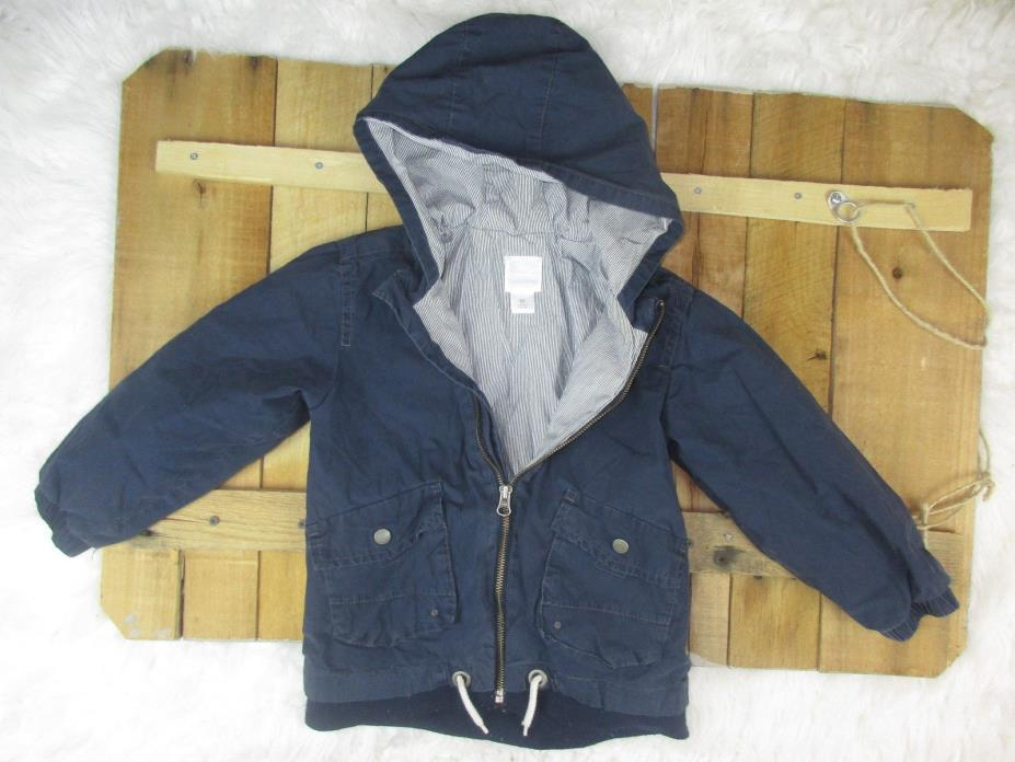 Old Navy Boys size 5T Navy Blue Hooded Zip Up Jacket OV4