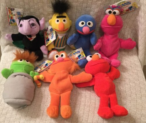 Sesame Street BEANS Count Oscar Elmo Bert Grover Telly Monster Zoe Plush Lot CTW
