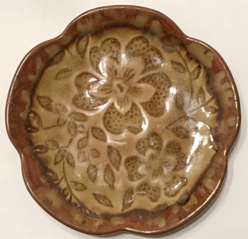 Asian Lotus Shape Ceramic Dish w Crackle Glazed Impressed Florals & Brown Drip