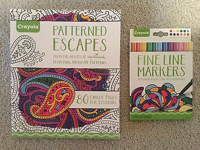 LOT 2 ADULT COLORING BOOK CRAYOLA PATTERNED ESCAPES AND 12 CT FINE LINE MARKERS