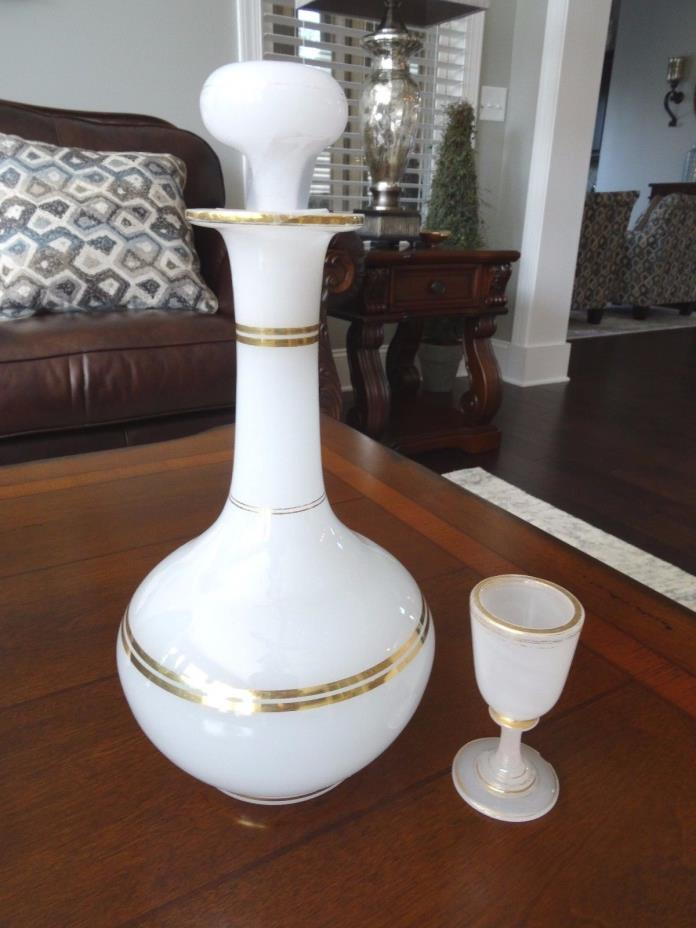 1800s French Opaline Clambroth Glass Gilt Decanter 10.25