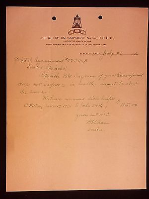 1931 Letter-Sick Benefits Paid-Independent Order of Odd Fellows IOOF