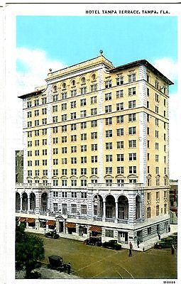 Old post card postcard Florida  hotel tampa terrace building cars