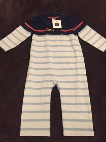 NWT Janie And Jack Blue And White Striped One Piece Size 12-18 Months
