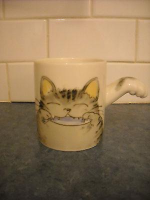 VINTAGE COFFEE TEA MUG GREY TABBY CAT SAKANA W FISH, PAW HANDLE NIB CERAMIC HOUS