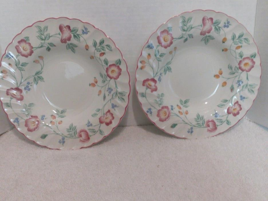 Churchill English Tableware Staffordshire, Briar Rose, 2 Rimmed Soup Bowls