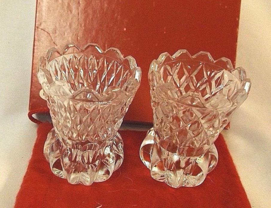 Vintage Cut Crystal Glass Toothpick Holder 2 1/2