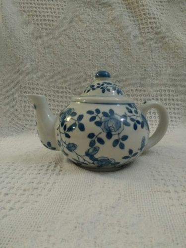 Ceramic Teapot with Blue Flowers