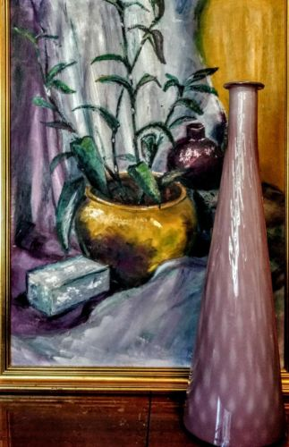 Mid Century Empoli Genie Bottle Decanter Optic Cased Lavender Glass Vase 18