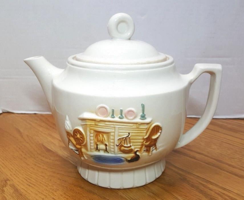 Porcelier LARGE 2 Qt Teapot Vtg USA White Fireside Hearth Spinning Wheel