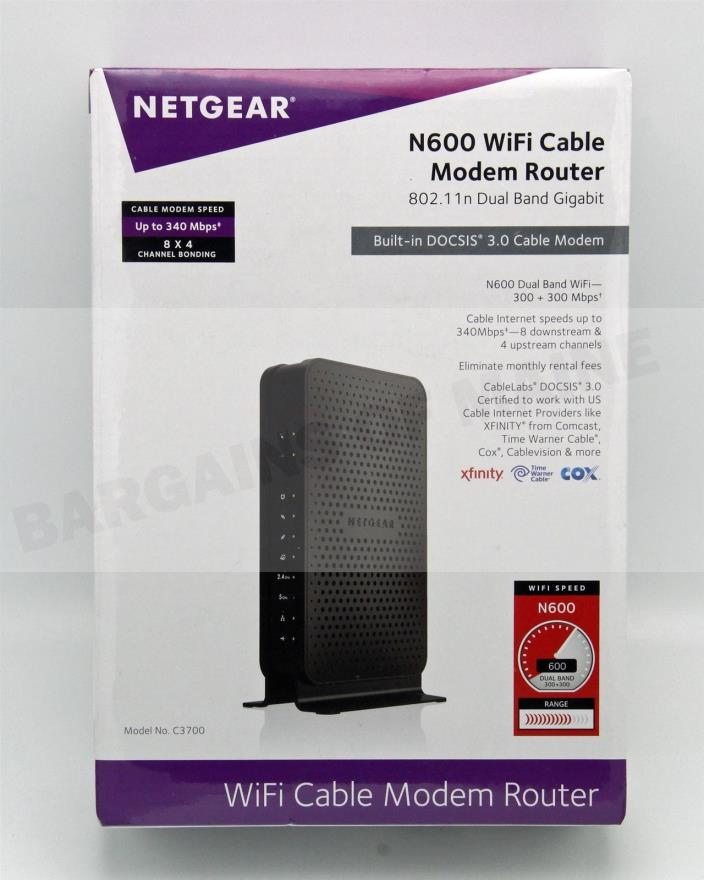 NETGEAR N600 WiFi Cable Modem Router 802.11n Dual Band Model# C3700 NEW