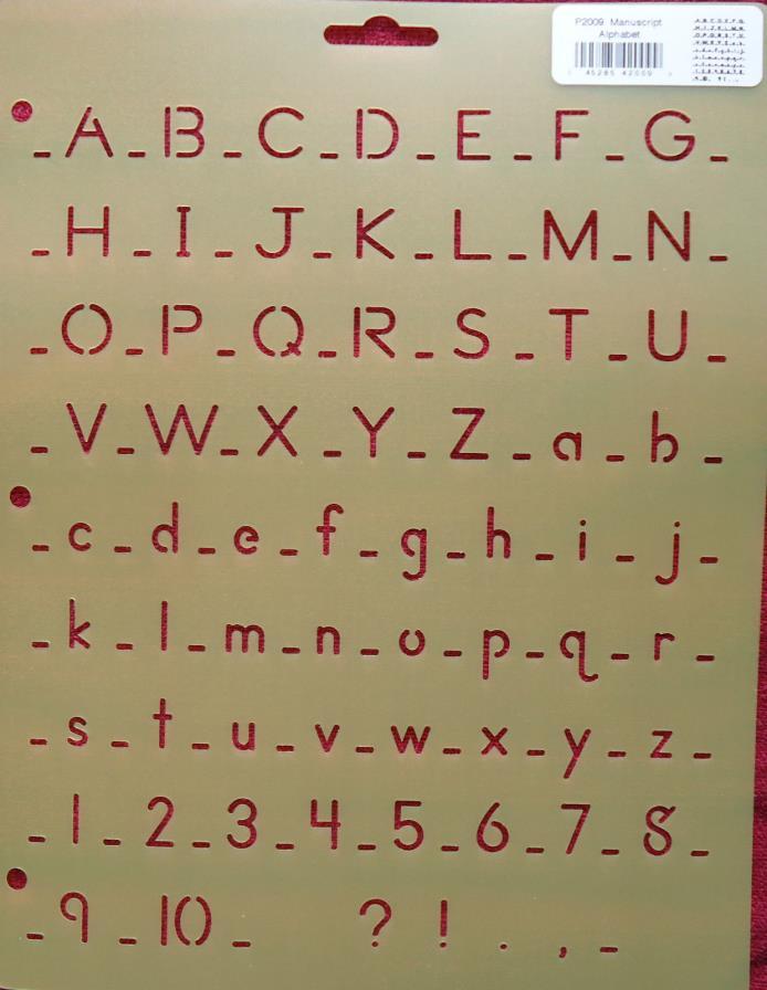 Stencil Manuscript Alphabet Upper & Lower Case Numbers QC P2009 crafts signs