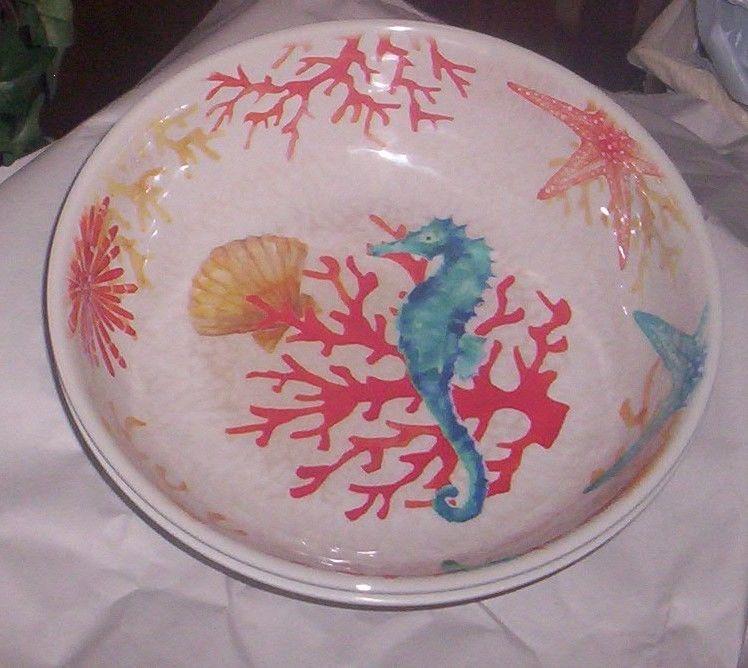 2 Coastal Collection Sea Life  MELAMINE Serving, Pasta Bowls NWT Indoor/Outdoor