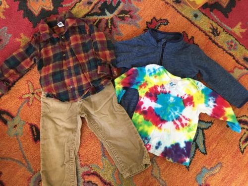 Boys Toddler Lot 18-24 Months Fall/winter Corduroy Pants, Fleece Jacket, Tie Dye