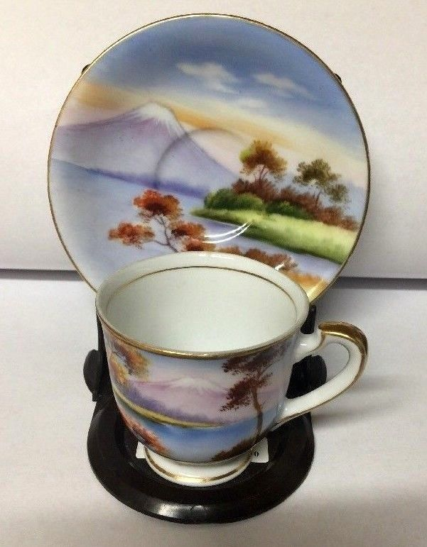 Lily China Hand Painted Demaitasse Cup & Saucer  Made in Japan Mountain Scene