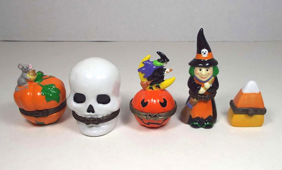 5 Porcelain Hinged Halloween Trinket Boxes Min Witch Pumpkin Skull Candy PHB MCF