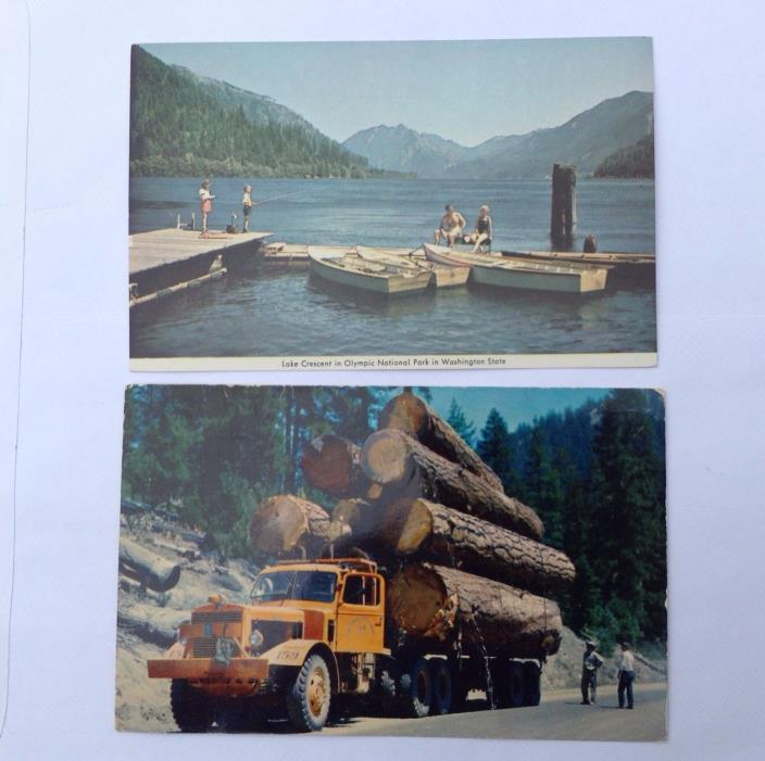 Vintage Postcard Truck Hauling Logs and Crescent Lake in  Western  USA Unused