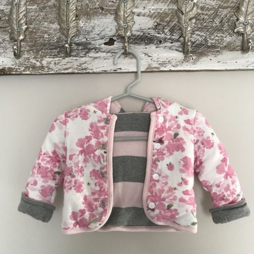 0-3mo Burts Bees Baby Reversible Hooded Jacket