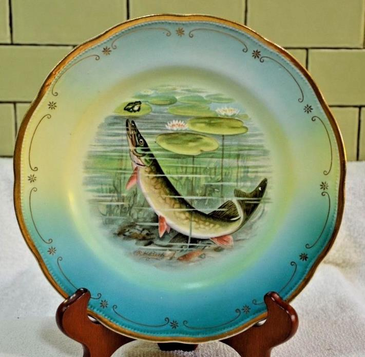Antique Vintage Owen China Minerva St European Pike or Pickeral Fish Plate 9.25 & Antique Fish Plates - For Sale Classifieds
