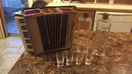 Accordion Music Box Decanter Barware Glassware Shot Glasses Music Box
