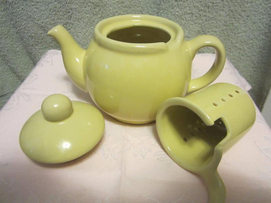 VINTAGE POTTERY 3 PC TEAPOT w/LID & MATCHING INFUSER/ STRAINER