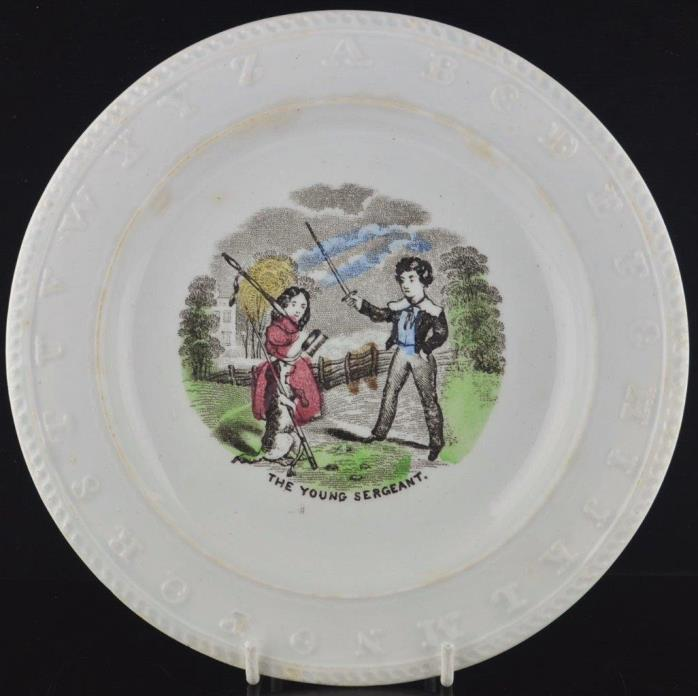 BRITISH 1880'S POLYCHROME CHILDS ABC ALPHABET PLATE-ELSEMORE & SON 1872 TO 1887