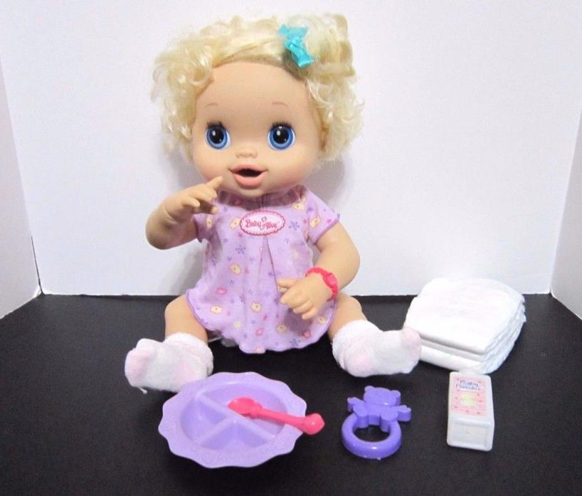 My Baby Alive 2010 Interactive Blonde Hair Accessories Dish Bottle Spoon Diaper