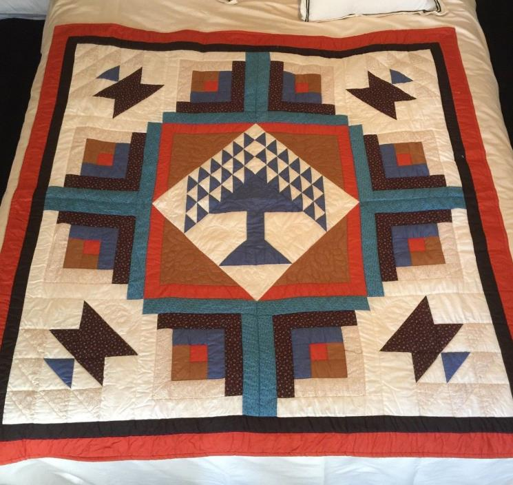 Antique Handmade American Quilt with Tree of Life Pattern