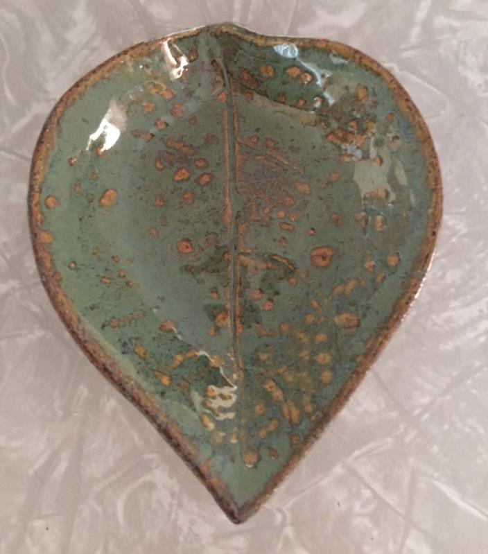 Decorative Pottery Leaf Dish Signed Green and Browns Glazed