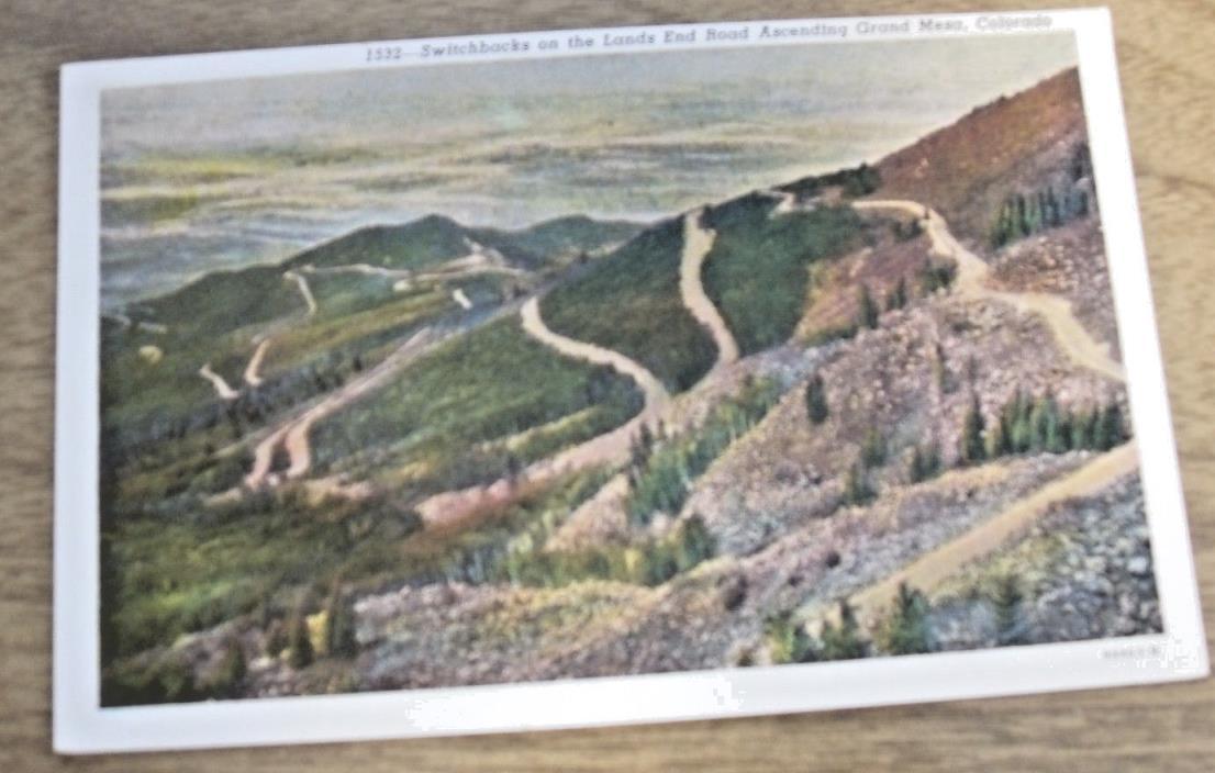 Vintage Postcard of Switchbacks on Lands End Road Ascending Grand Mesa, Colorado