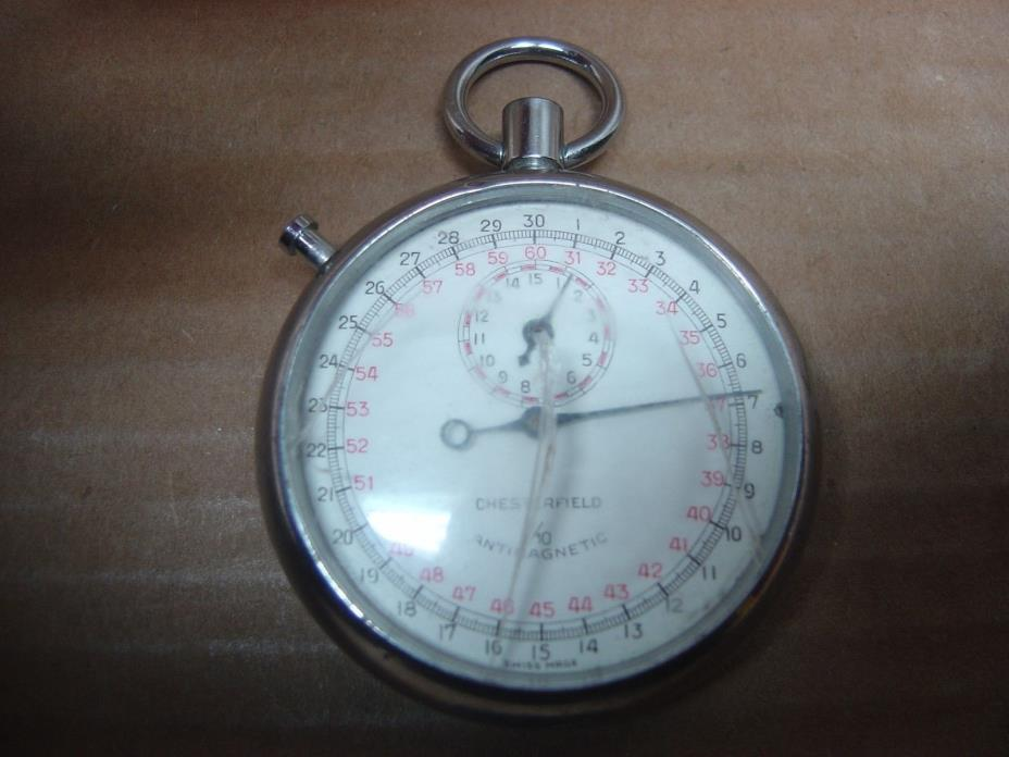 Vtg CHESTERFIELD 1/10 SINGLE ACTION ANTIMAGNETIC STOPWATCH SWISS MADE, PARTS