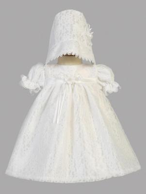 Girls Christening Dress White Satin Lace Tulle Overlay Melissa 0-3 Mos