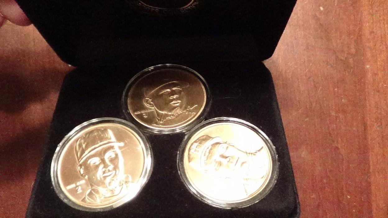 Highland Mint Bronze Mint Coin Set Chipper Jones Alex Rodriguez Derek Jeter COA