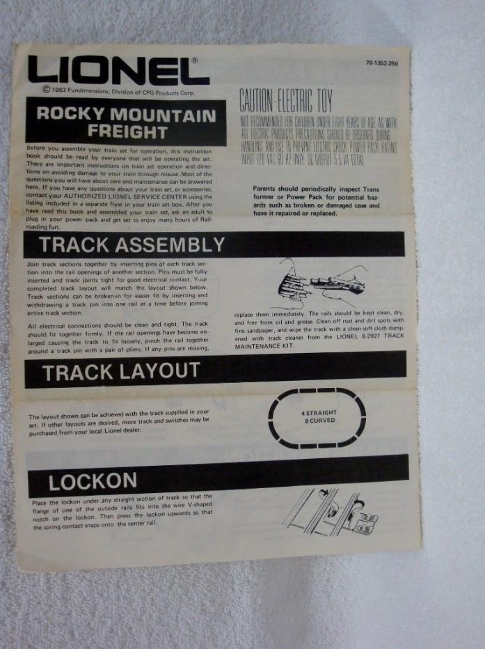 Lionel Rocky Mountain Freight Train Set Instructions