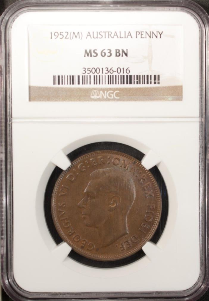 Australia  Penny 1952 M  NGC MS 63 BN  UNC Bronze George VI Kangaroo