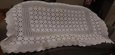 "Handmade 55"" X 90"" Crocheted Tablecloth ECRU"