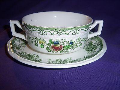 green transferware BALMORAL KENSINGTON STAFFORDSHIRE  cream soup cup bowl  plate