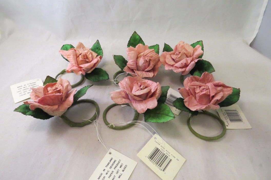 Vintage Pink Roses Napkin Rings Large Paper Set of 6