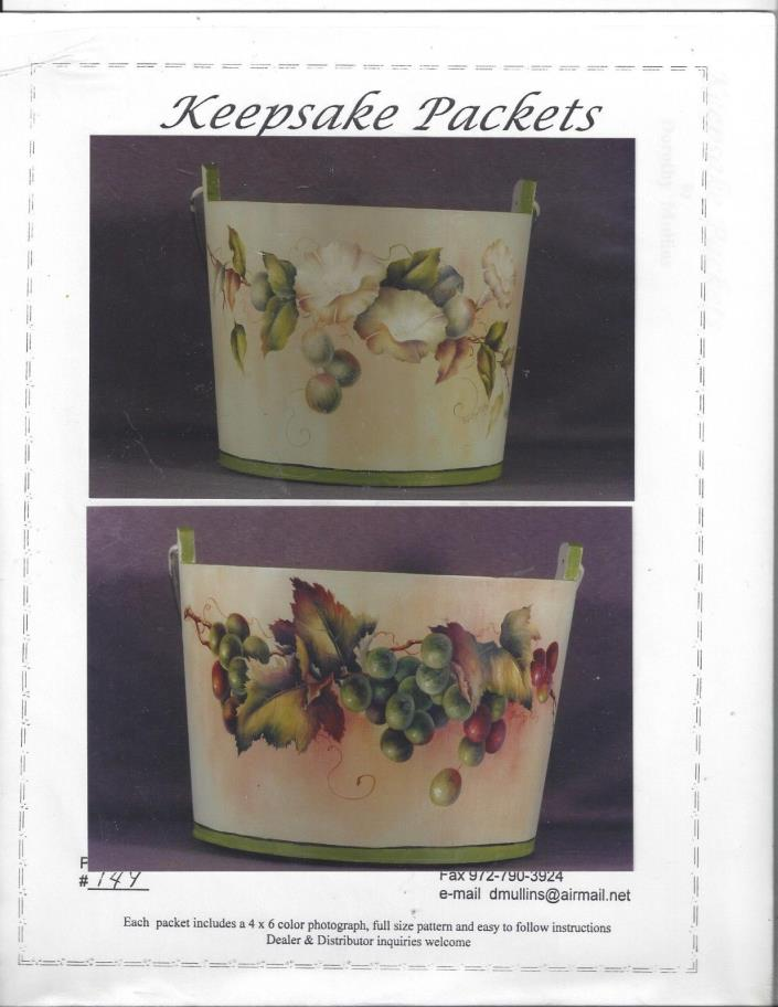 Gooseberry, Cherry and Grape Buckets  Tole Painting Packet by Dorothy Mullins