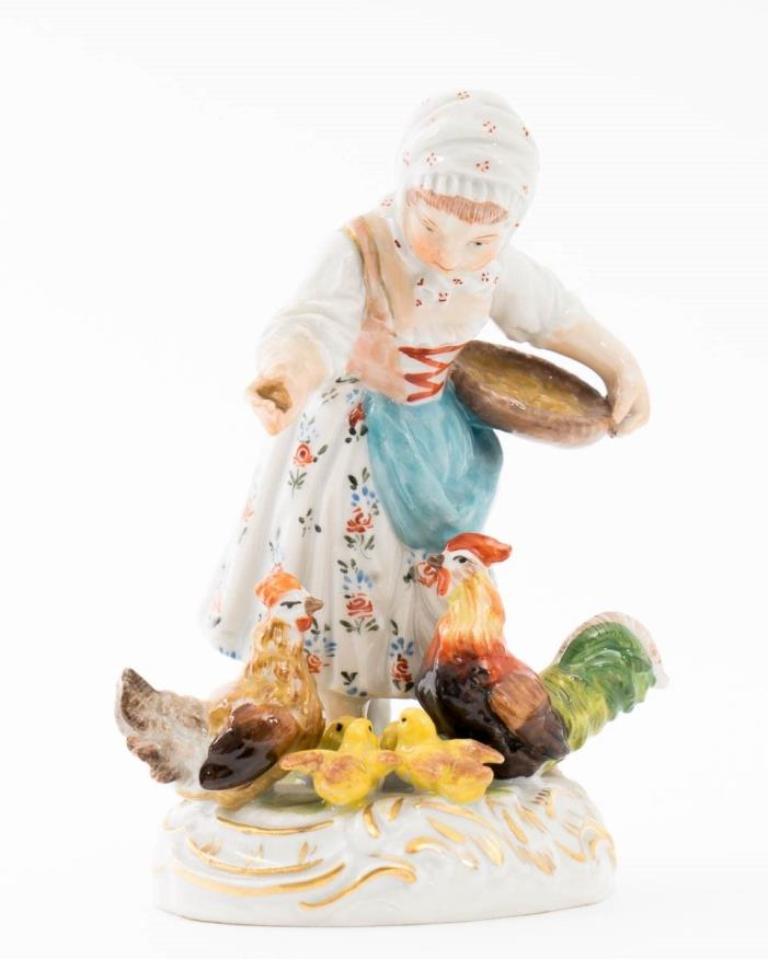 Antique Dresden Hand Painted Porcelain Figurine Girl Feeding Chickens Hens 5