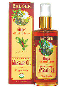 W.S. Badger Company, Deep Tissue Massage Oil w/Ginger 4 fl oz
